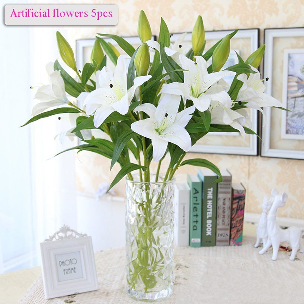 Artificial Flowers Meiwo 5 Pcs Nearly Natural Artificial Lillies