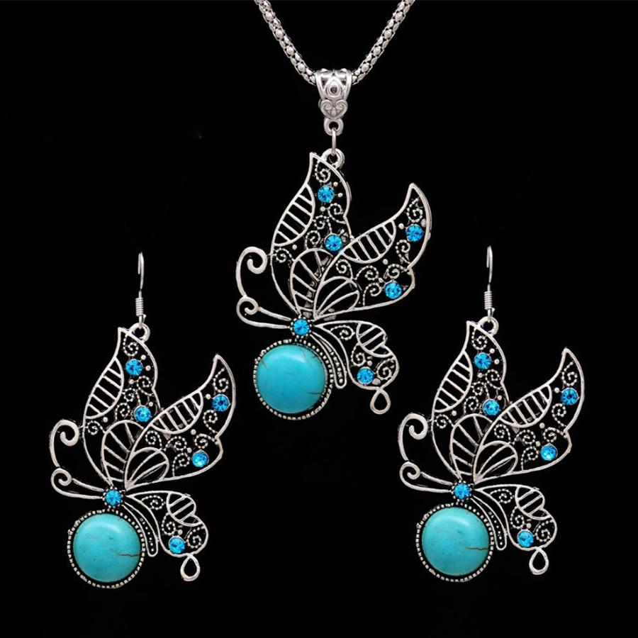Jewelry Rhinestone Crystal Turquoise Vintage Hollow Out Earrings Sets Necklace