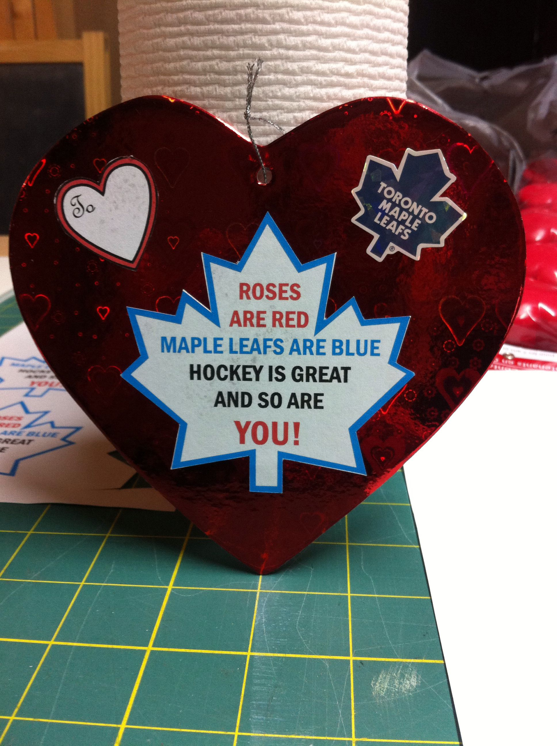 Toronto Maple Leaf Valentine Cards My Husband And Son Would Love This Hockey Valentines Gift Valentine Cards For Boyfriend Hockey Valentines