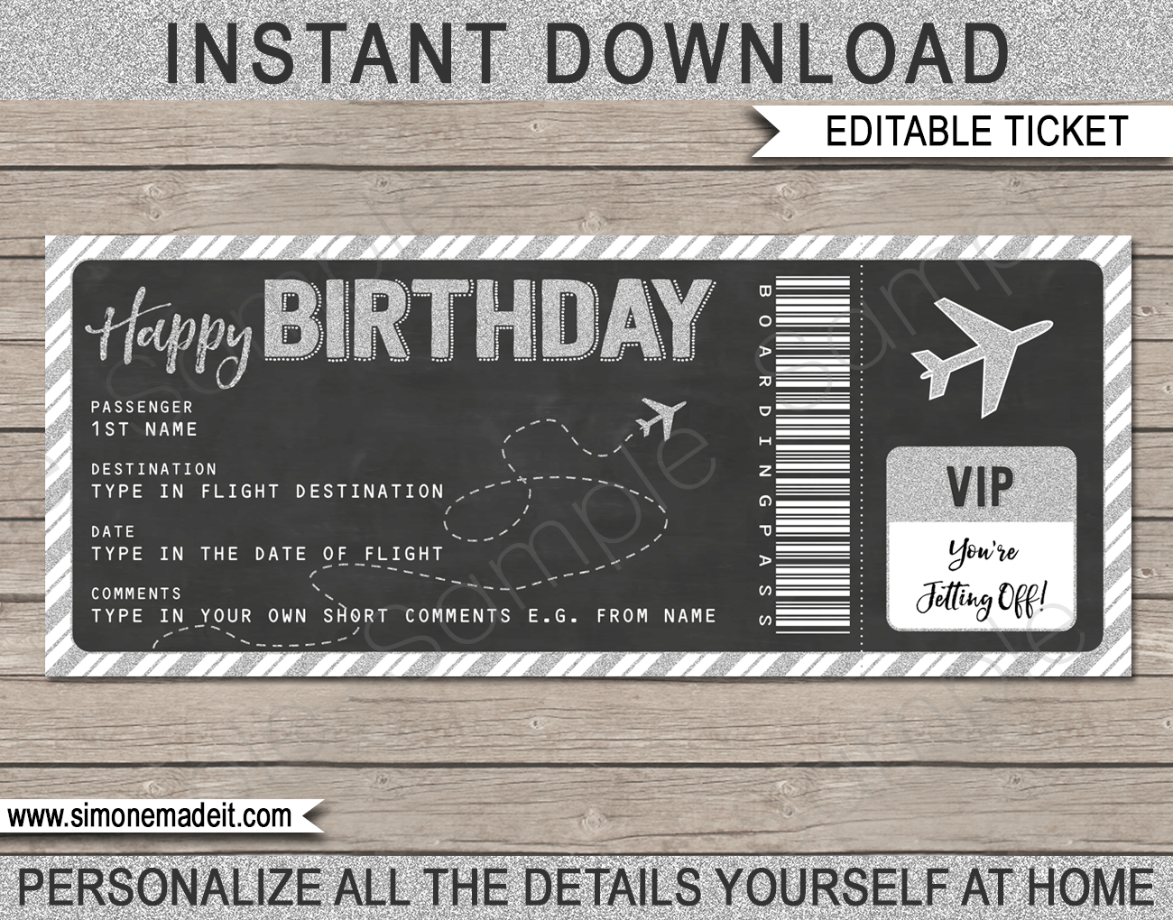 Birthday Boarding Pass Gift Ticket Template Surprise Plane Trip Reveal Surprise Gifts For Him Surprise Trip Reveal Ticket Template