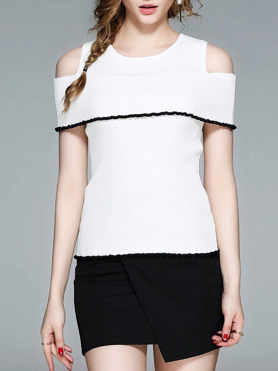 #AdoreWe #StyleWe Short Sleeved Tops - Designer PHILIS Casual Cold Shoulder Crew Neck Sheath Knitted Short Sleeved Top - AdoreWe.com