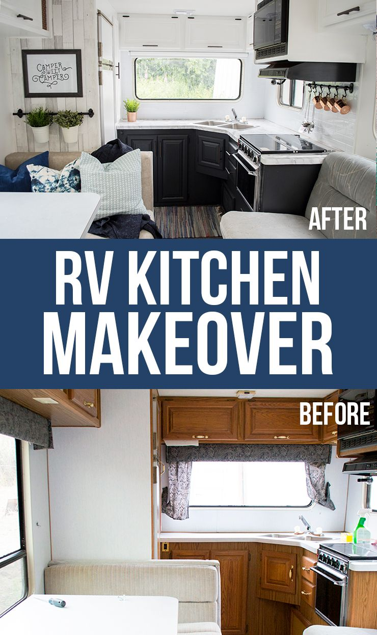 Our Diy Camper Kitchen Makeover Painting Oak Cabinets With