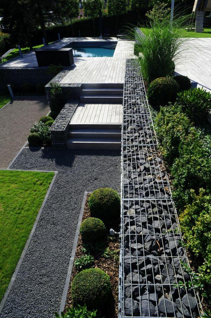 gaviones decorativos para el jard n y jardiner a laterales y escaleras Jardines Para Casas, Jardines Contemporáneos, Jardines  Modernos, Arquitectura De Paisaje