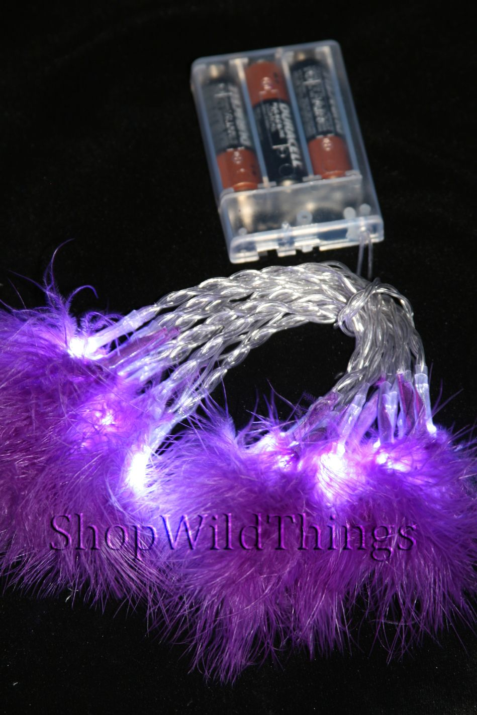 "LED Light Strand - Purple Feathers - 20 Lights, 86"" Long - Battery Operated"