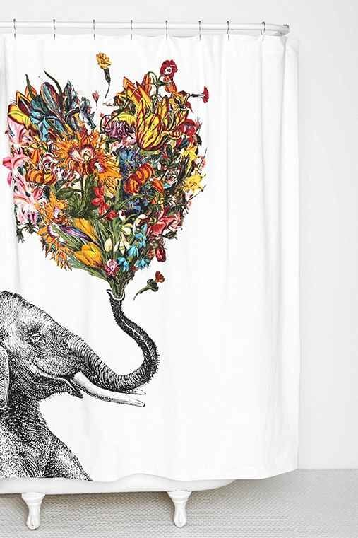 I just discovered this fun elephant shower curtain on Urban Outfitters. Designed by artist RococcoLA, this shower curtain is fun and playful – it features an elephant blowing a heart shaped explosion of flowers from its trunk!