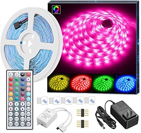 Amazon Com Minger Led Strip Lights 16 4ft Rgb Led Light Strip 5050 Led Tape Lights Color Changing Led Strip Lights With Remote For Home