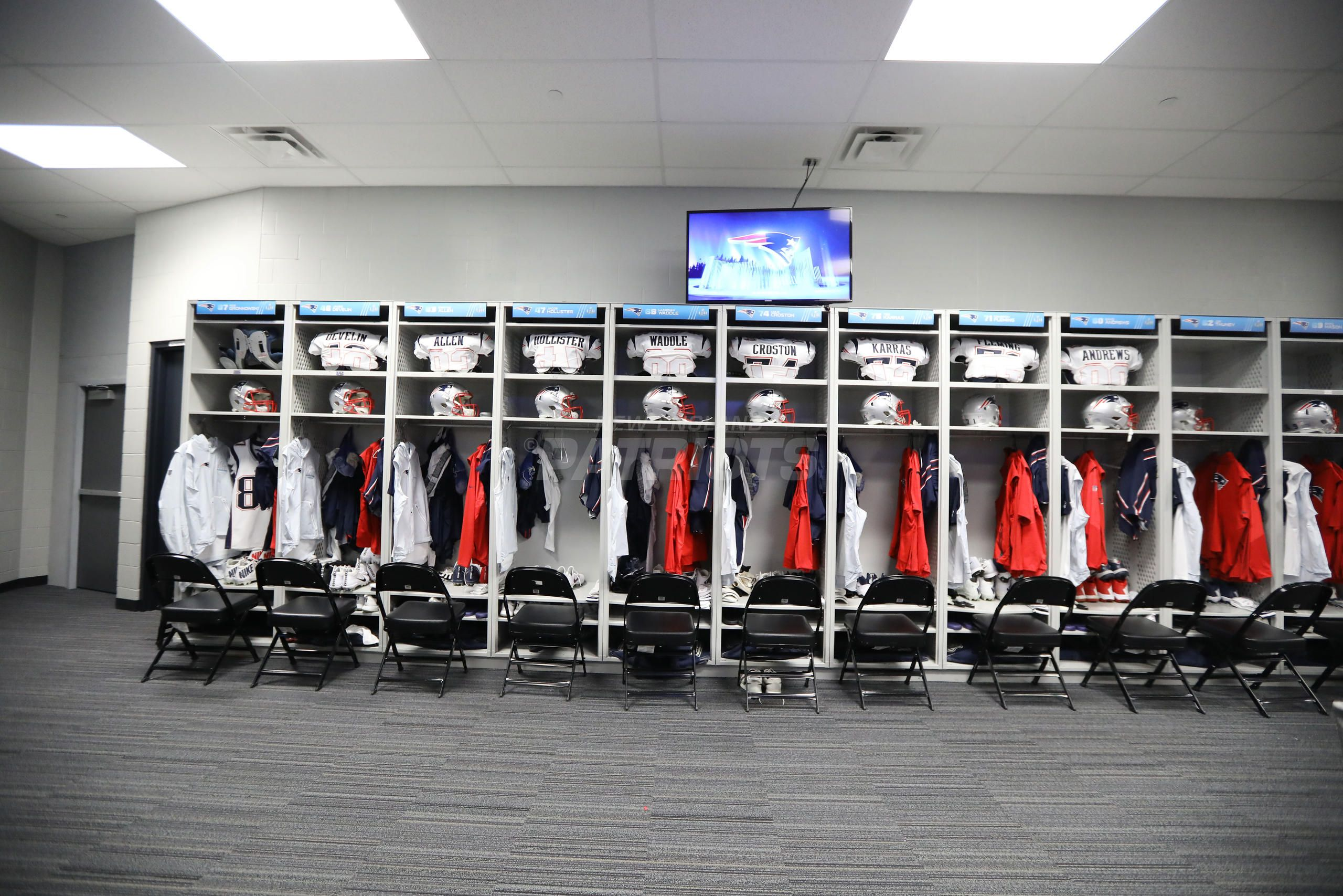 Super Bowl Lii Pregame Inside The Patriots Locker Room Lockers Locker Room Patriots