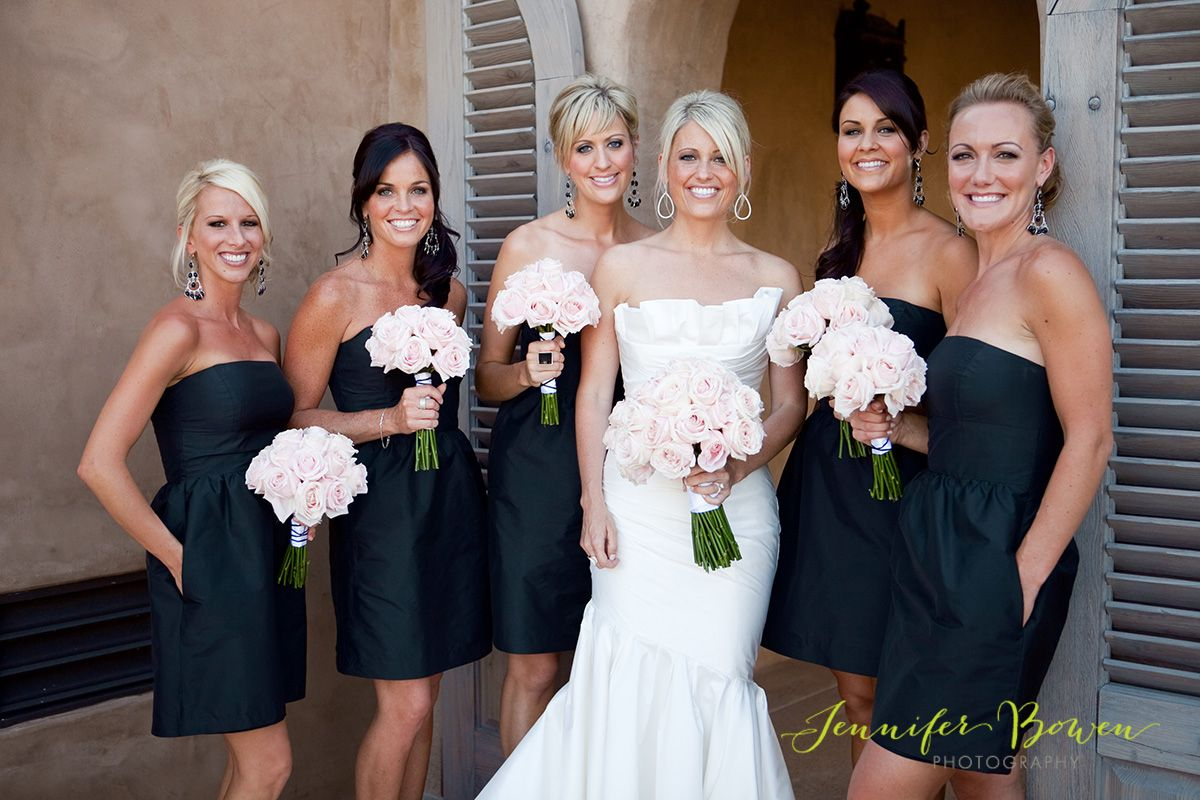 Black dresses with pale pink flowers guys in tan vest with black i love the idea of having black bridesmaids dresses i also like that there isnt a cliche black and red color scheme the soft pink flowers are a great ombrellifo Image collections