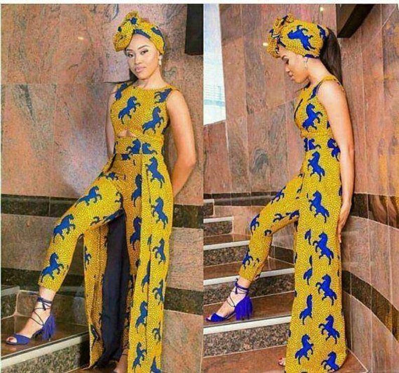 Afrikanischer Druck Ankara lange Spitze und Hose passend Set afrikanische Kleidung afrikanische Mode