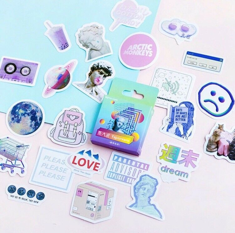 Details About 46 Mini Vaporwave Stickers 90s Aesthetic Crafts