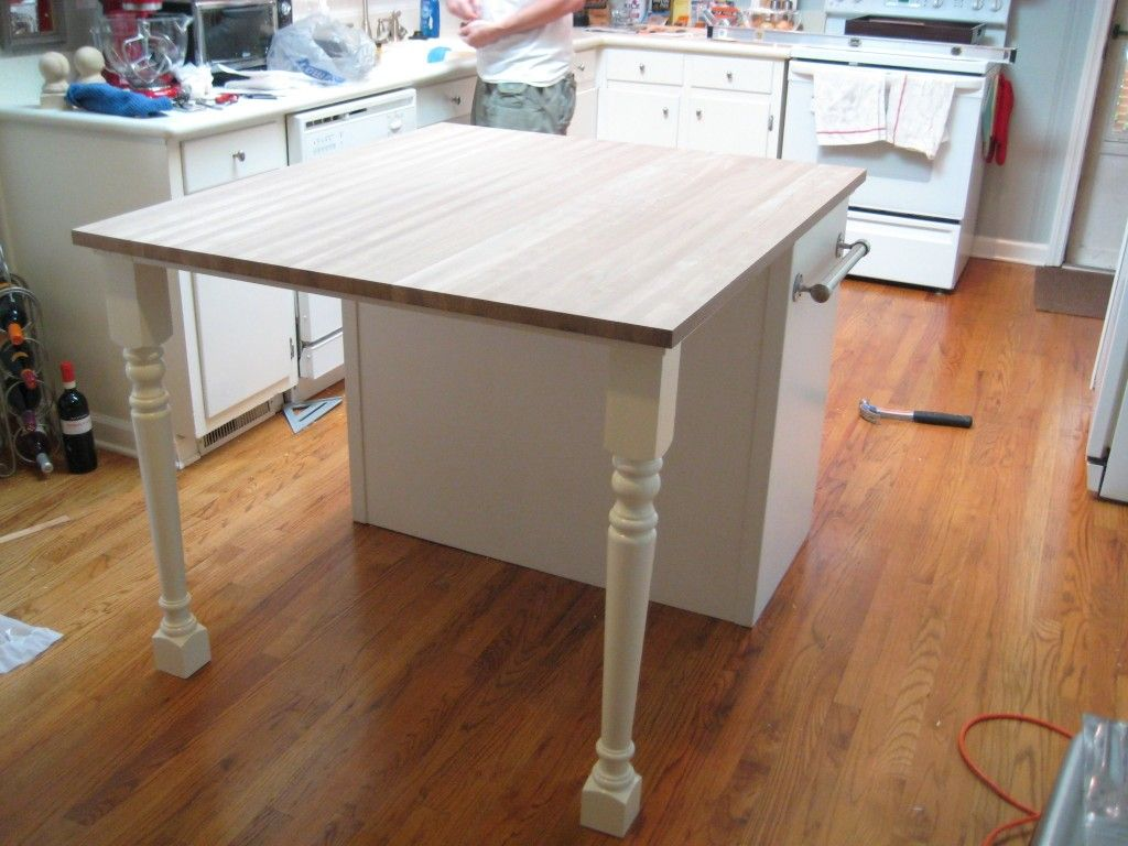 Kitchen Cabinets With Legs Window Valances Diy Too Small Island Into Plenty Big Enough