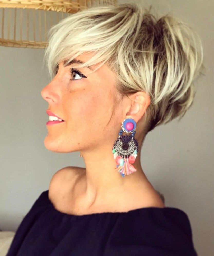 Undercut blonde pixie with dark roots shorthair short hairstyles