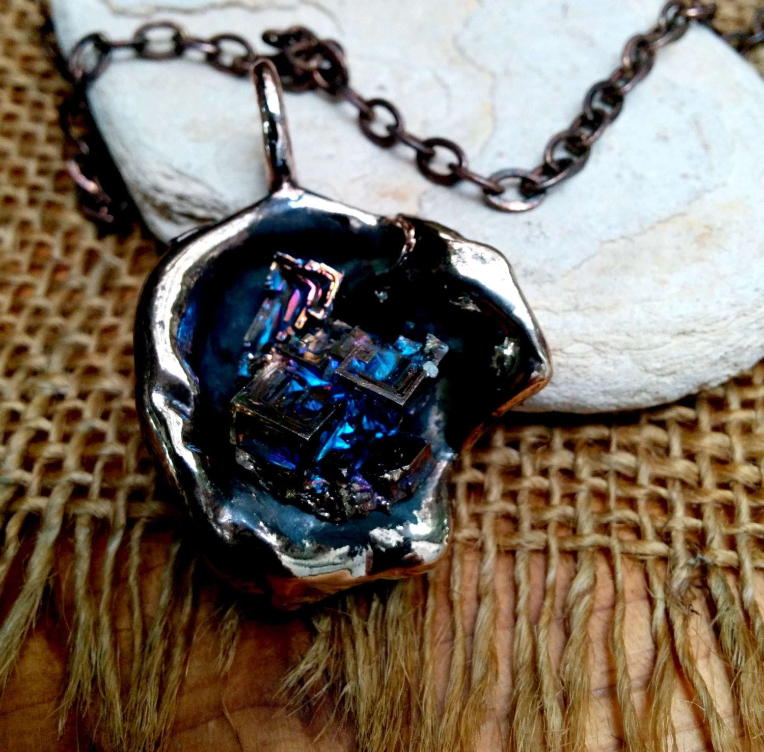 """Bismuth  on Bronze. 24"""" Copper Chain. #5.#6. #7. by NAKOBI on Etsy"""