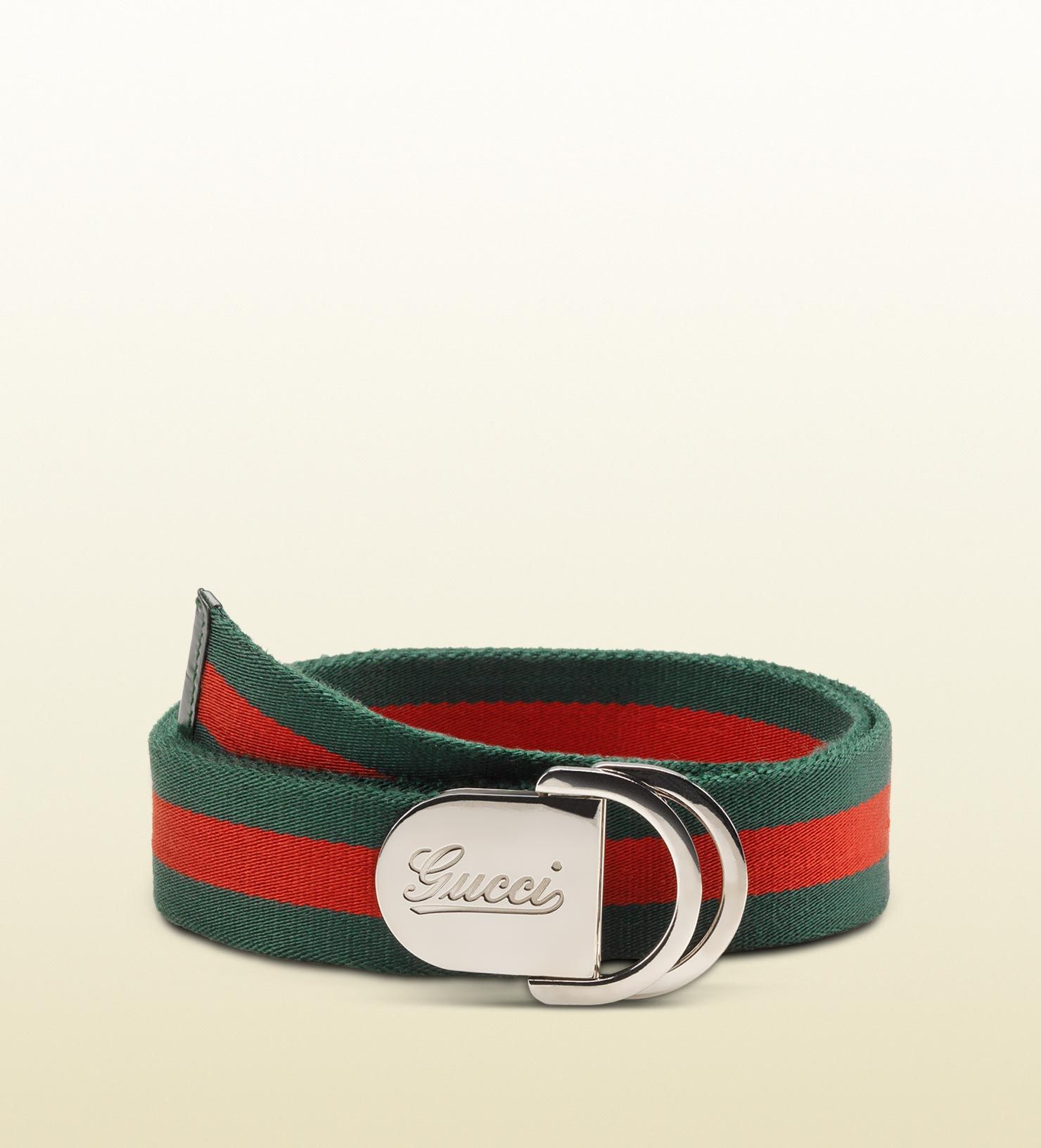 244aa9391309 belt with engraved gucci script logo and D ring buckle