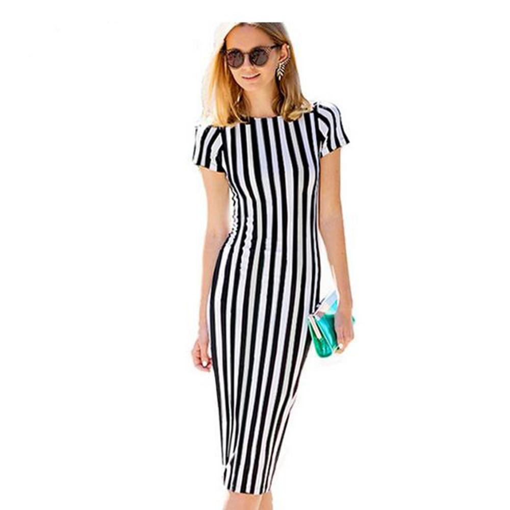 Women dresses new arrival dress black white striped print puff