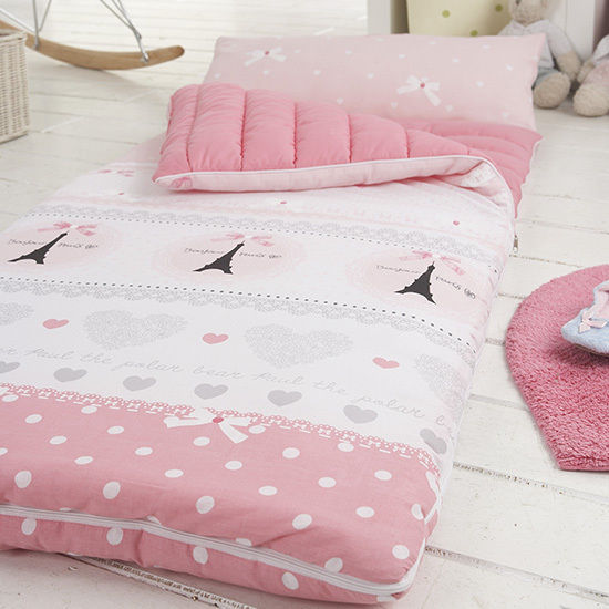 Kids Pink Lady Cotton Reversible Nap Mat Sleeping Bag Type Include Pillow