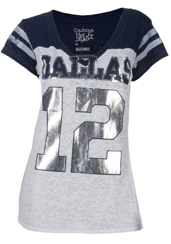 Dallas Cowboys T-Shirt - White Navy Blue Cowboys Burnout Jersey Short  Sleeve Tee 627de4275