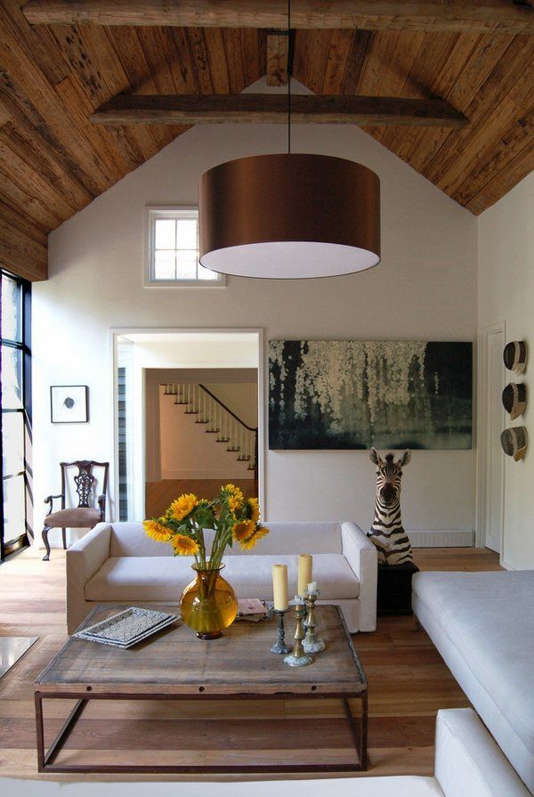 Modern Living Room Design Mushroom Wood Cathedral Ceiling