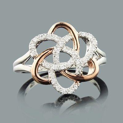 Diamond Flower Ring in Rose Gold 0.18ct 10K Gold