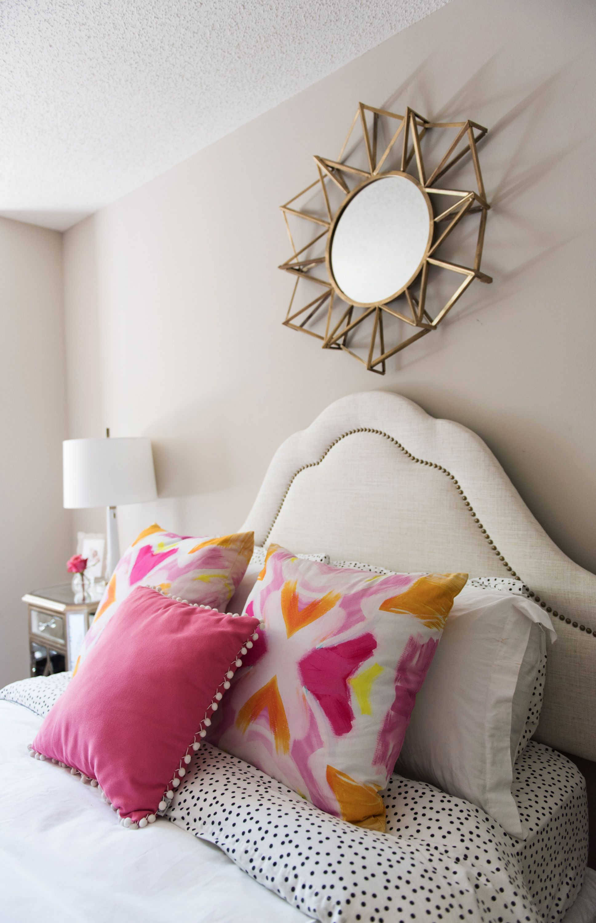 Studded Headboard And Feminine Accents = Perfect Girly Chic Bedroom