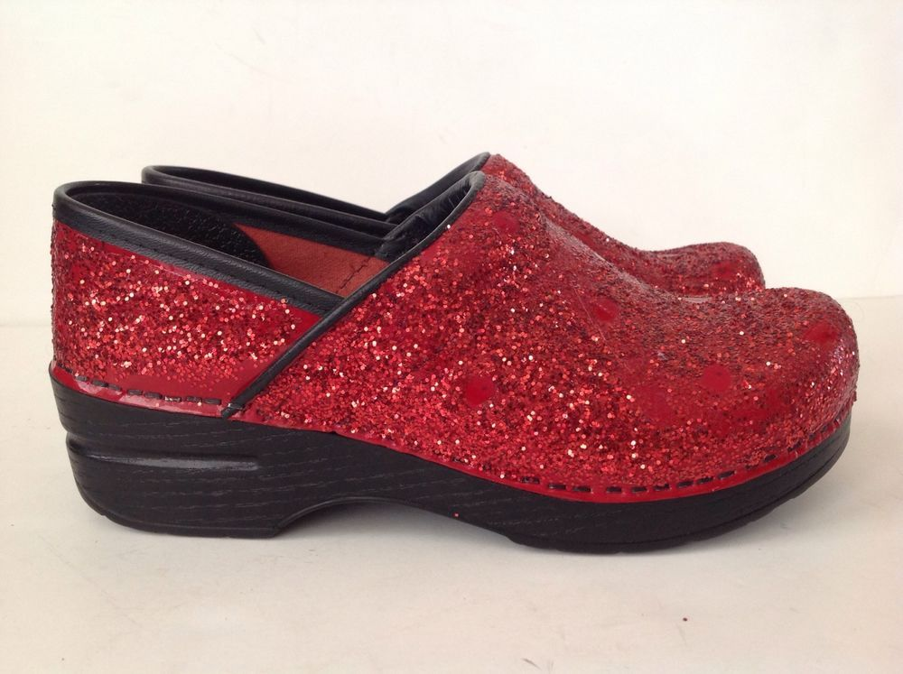 723bbdde76e DANSKO Red Glitter Professional Clogs Size 37 6.5-7 PRISTINE LN!  Dansko   Clogs  WeartoWork