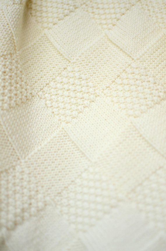 Photo of White Knit Baby Blanket, Hand Knitted Baby Blanket