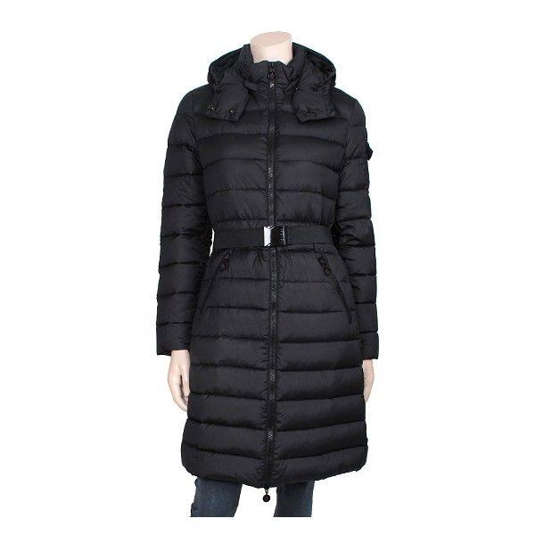 Moncler Mokacine Womens Belted Down Coat Black | Korean