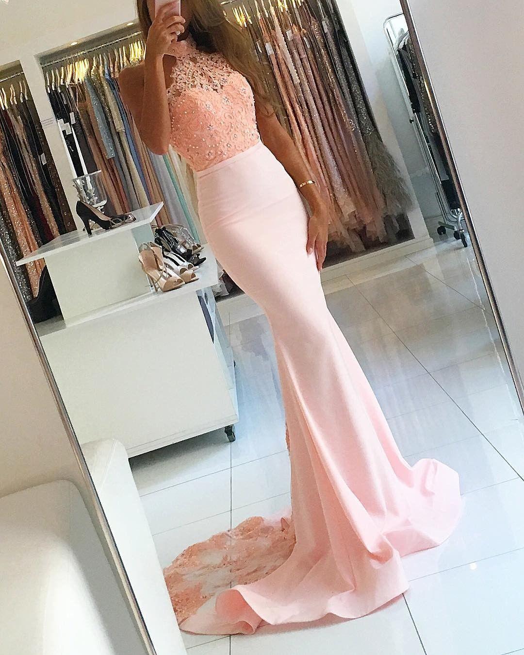 Sexy open back mermaid halter neckline blush pink lace prom dress