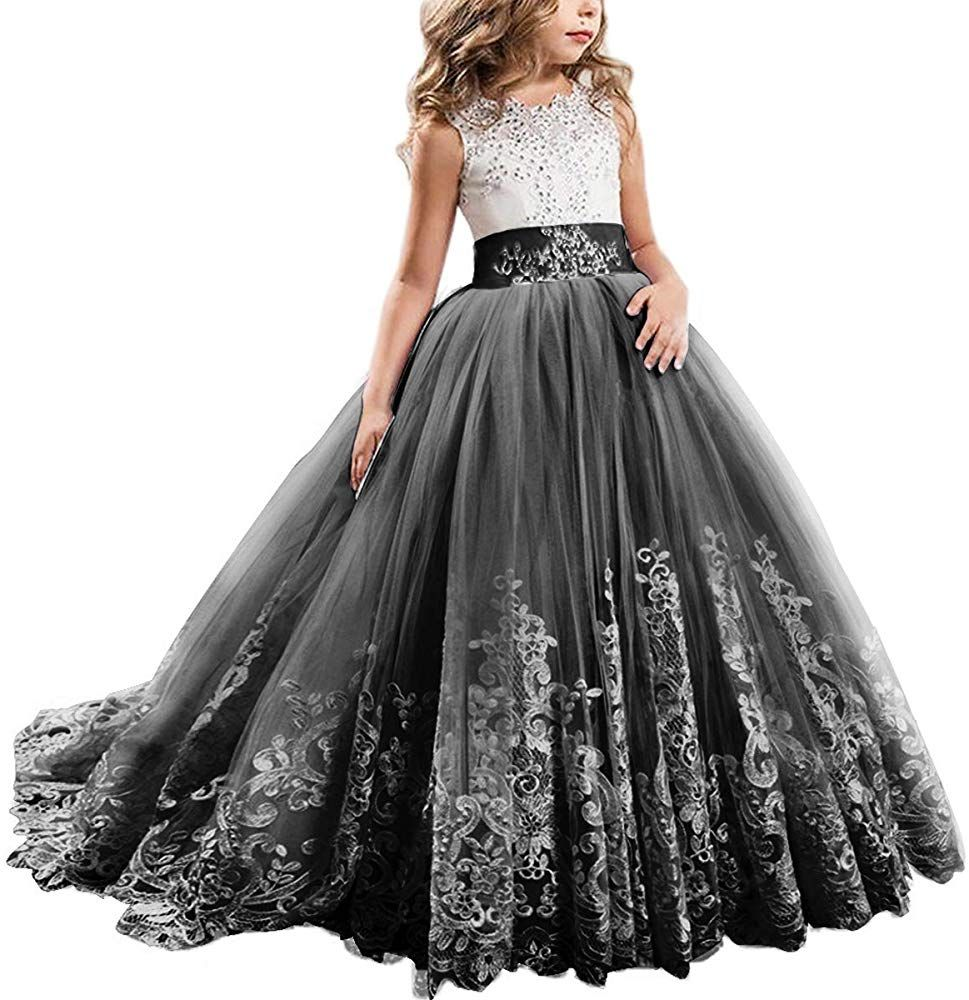 US Girls Princess Dress Party Formal Wedding Birthday Maxi Lace Tulle Prom Gown