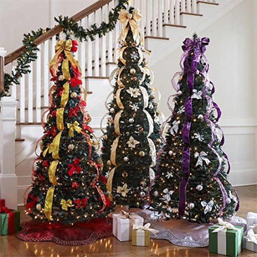 Brylanehome Flat-To-Fabulous Fully Decorated, Pre-Lit 6Ft Tree ...