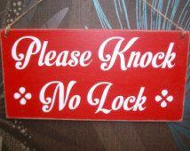 Please Knock No Lock Bathroom Door Sign Toilet Door Sign