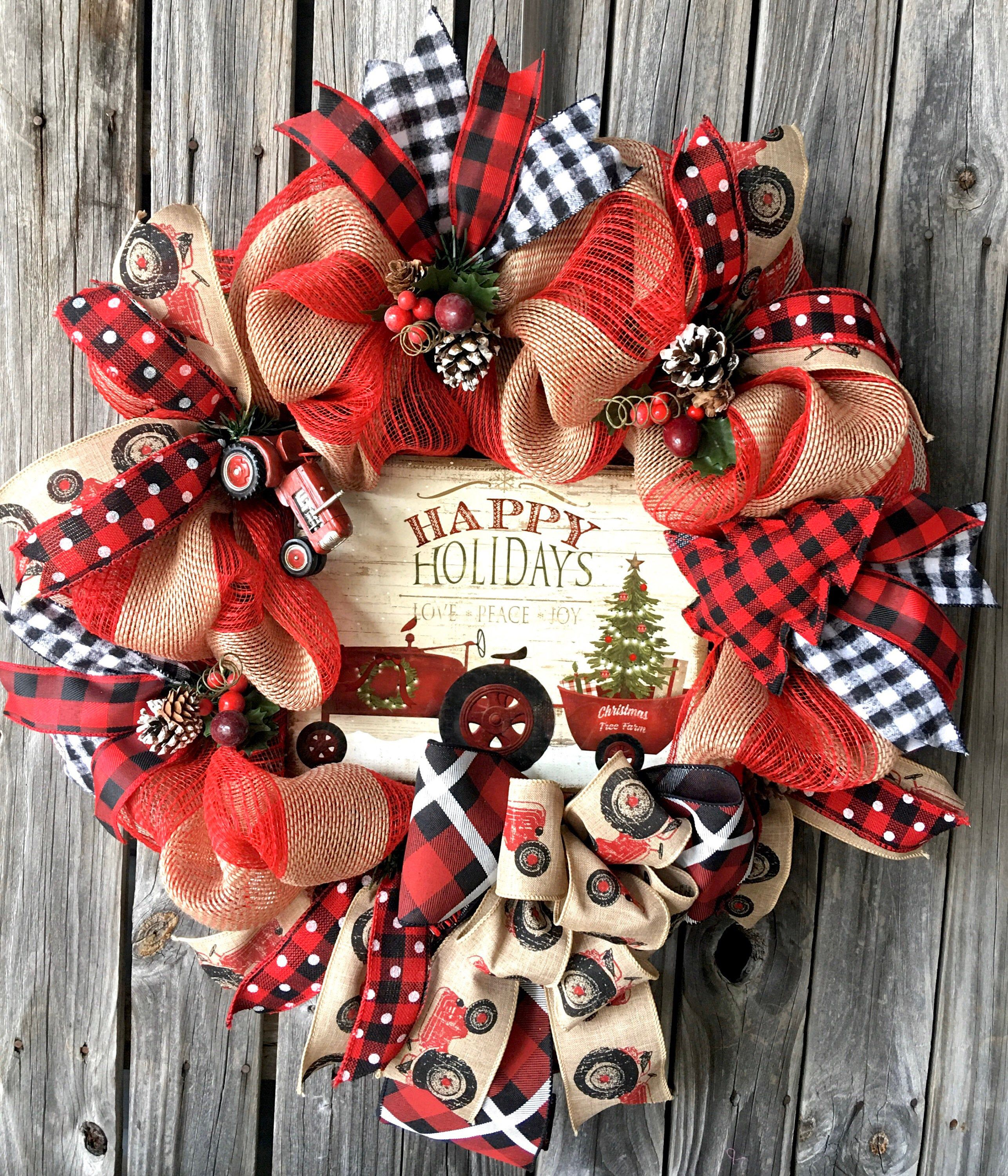Christmas red tractor, Christmas farm wreath, Country