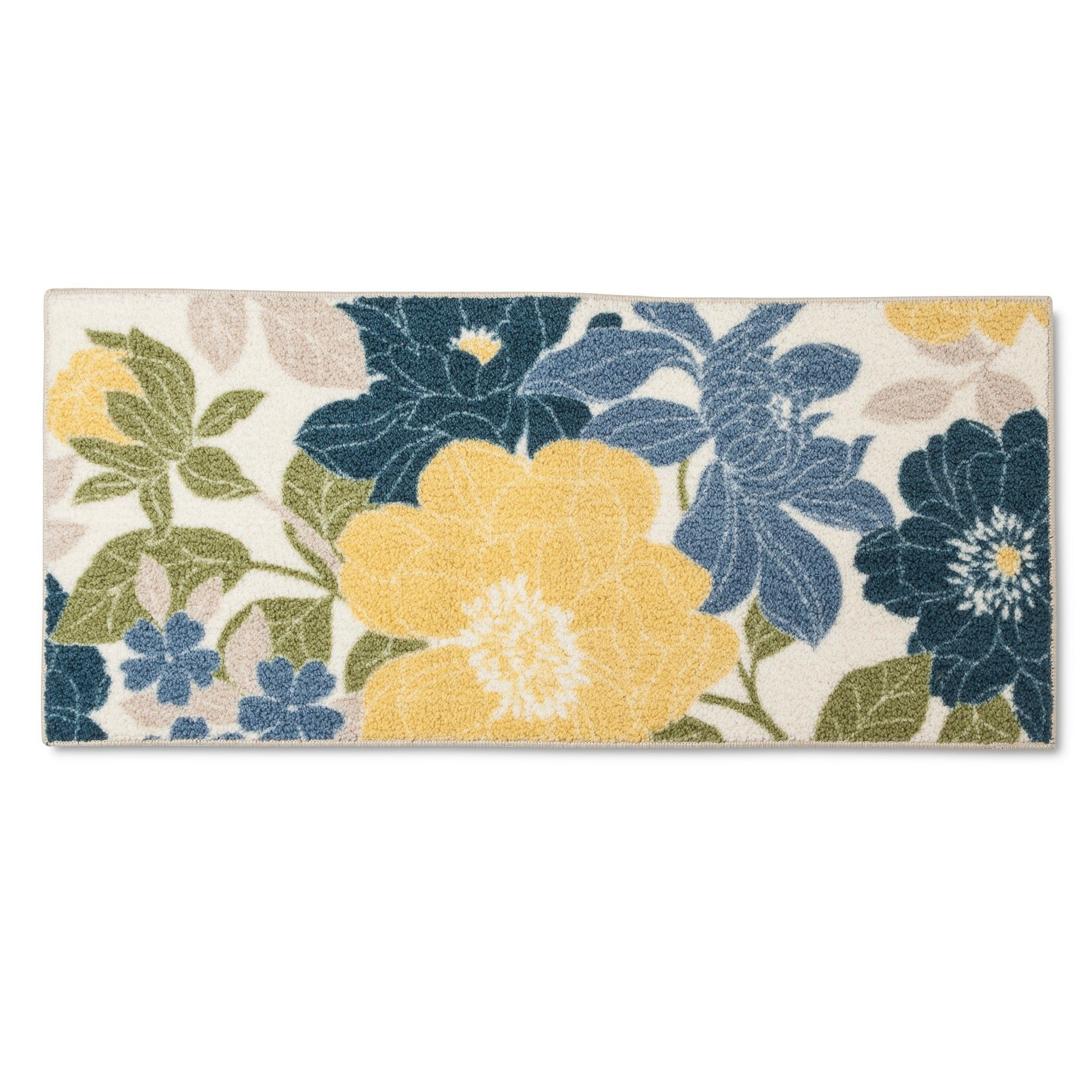 Floral Blue Accent Kitchen Rug 20 X 45 Threshold Floral Area