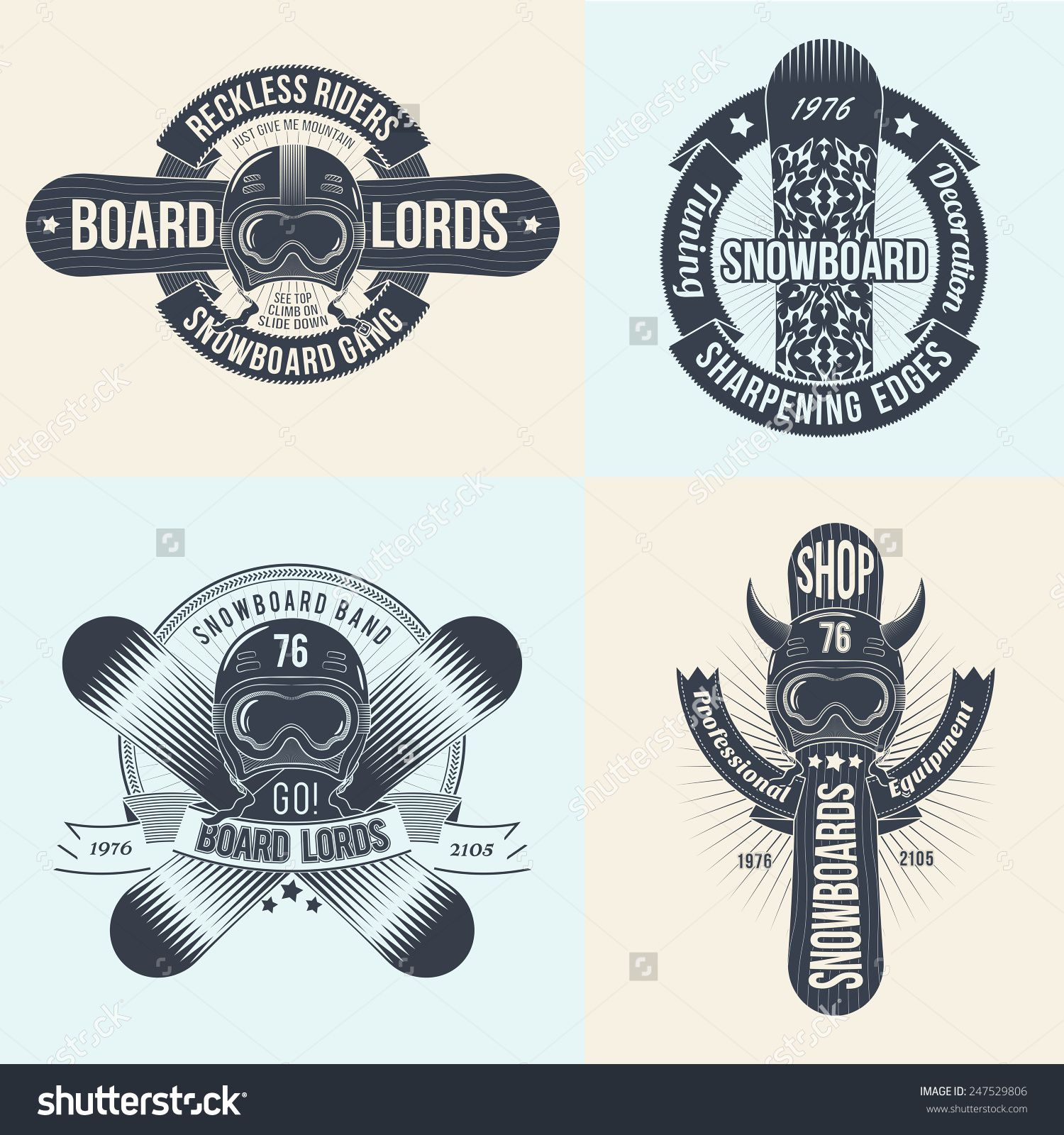 Snowboard Logos Emblems Of Different Designs Snowboards Helmets