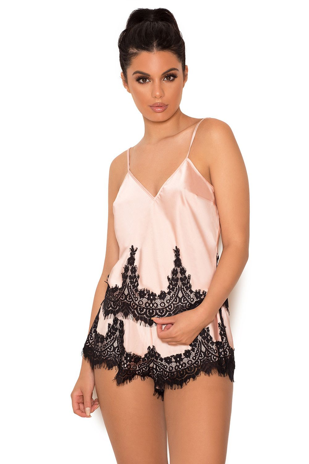 Clothing nightwear umelizau pink satin cami and shorts sleep set