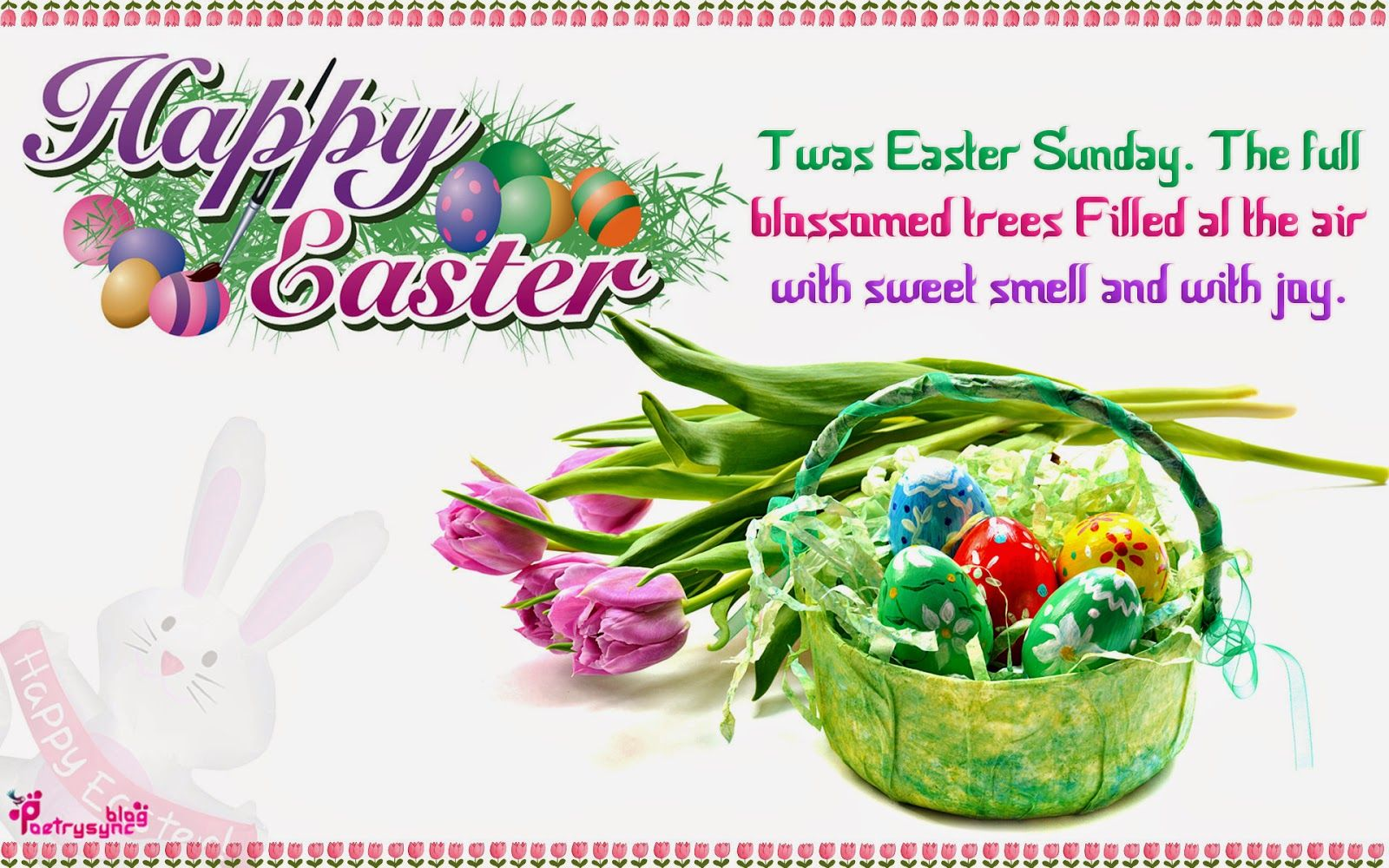 Happy Easter Holiday Wishes and Greetings SMS Wallpaper – Easter Greeting Card Messages