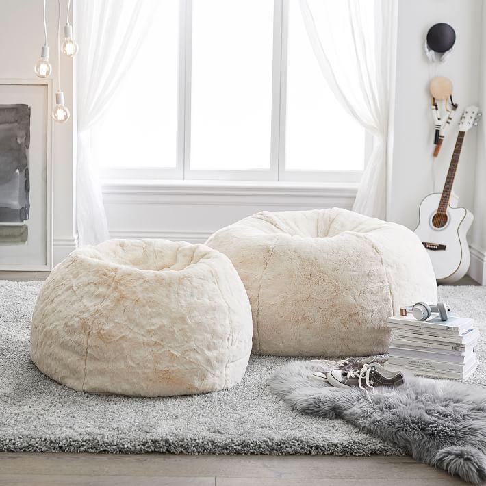 Ivory Polar Bear Faux Fur Bean Bag Chair In 2020 Bean Bag Chair Fur Bean Bag Faux Fur Bean Bag