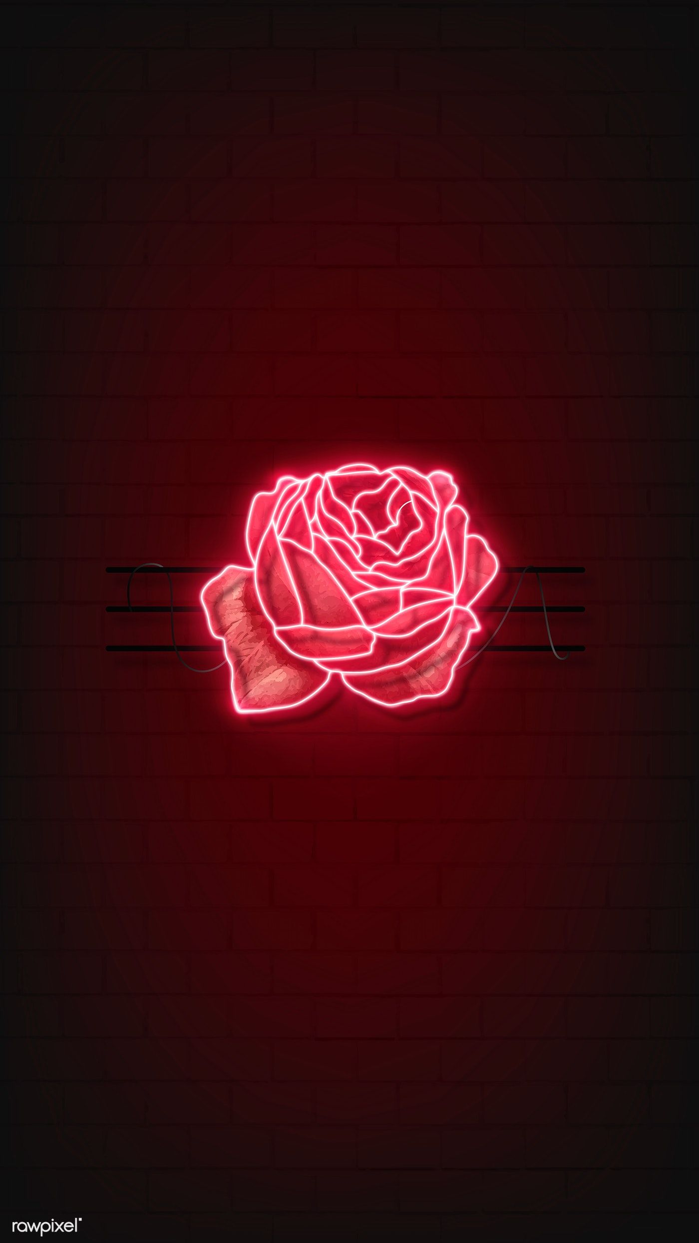 Download Premium Vector Of Red Neon Rose Mobile Phone Background Vector Red Aesthetic Dark Red Wallpaper Red Wallpaper