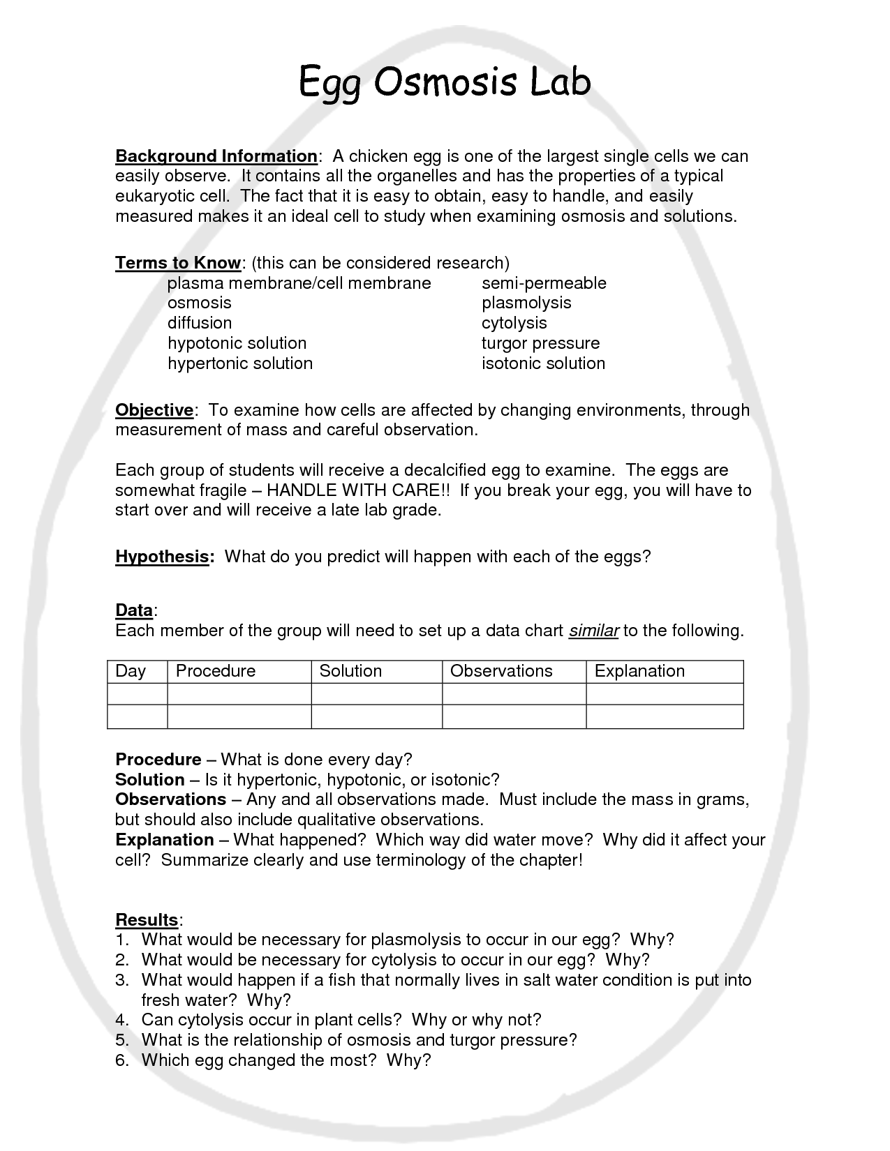 Egg Osmosis Lab Worksheet