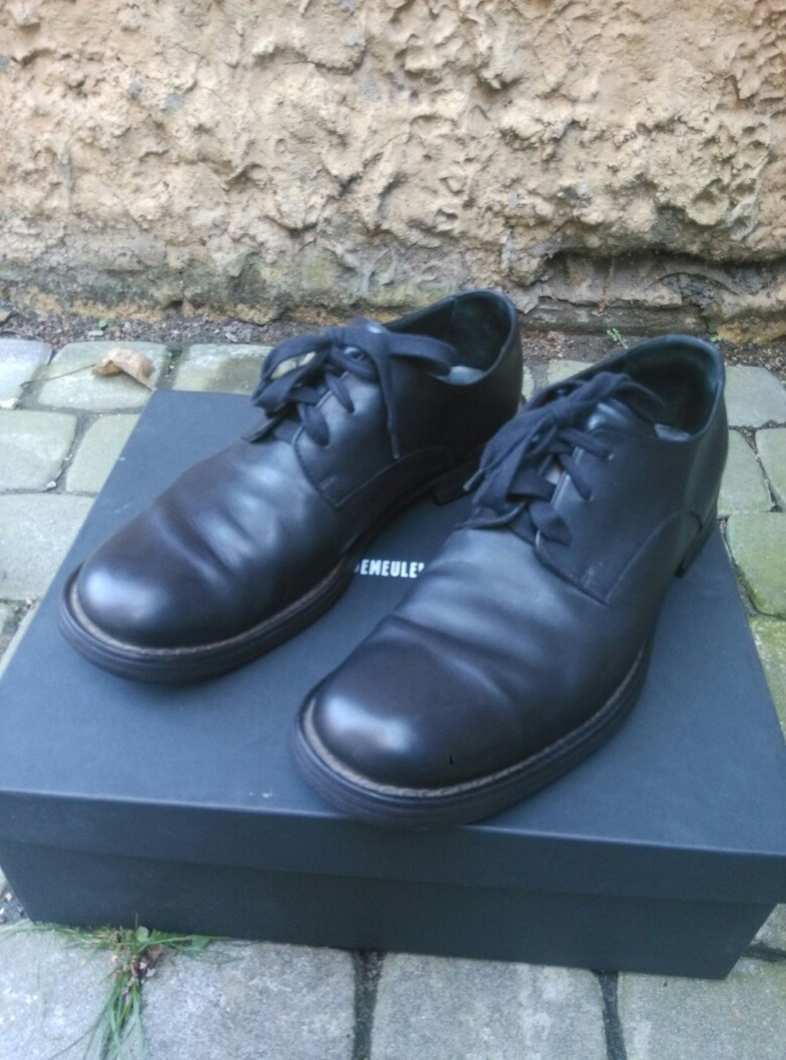 Ann Demeulemeester Black Leather Derby Shoes Margiela Poell Harnden Guidi Size 9 $299 - Grailed