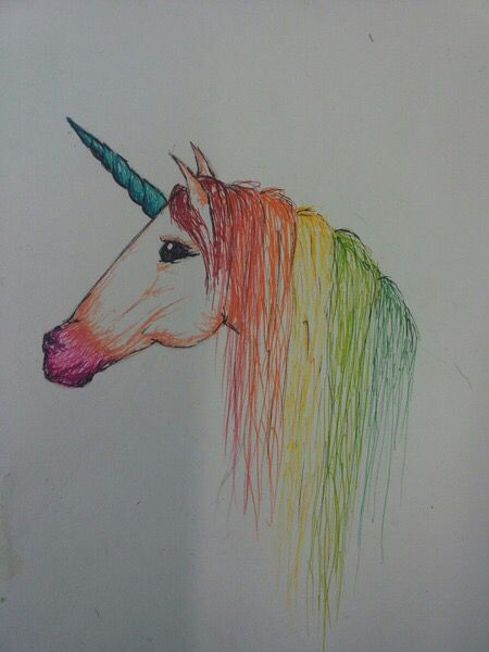 Unicorn colored pencils art