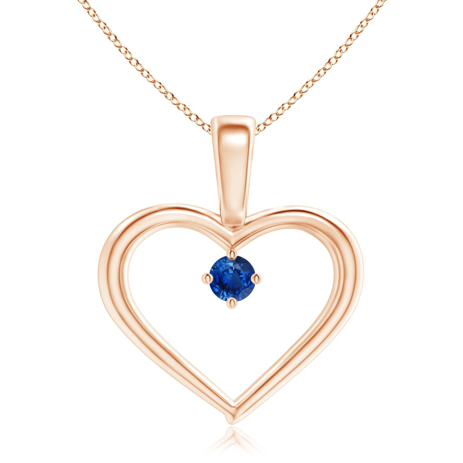 Solitaire round blue sapphire open heart pendant with prong set a symbol of love this sapphire open heart pendant radiates an exquisitely feminine charm buycottarizona Gallery