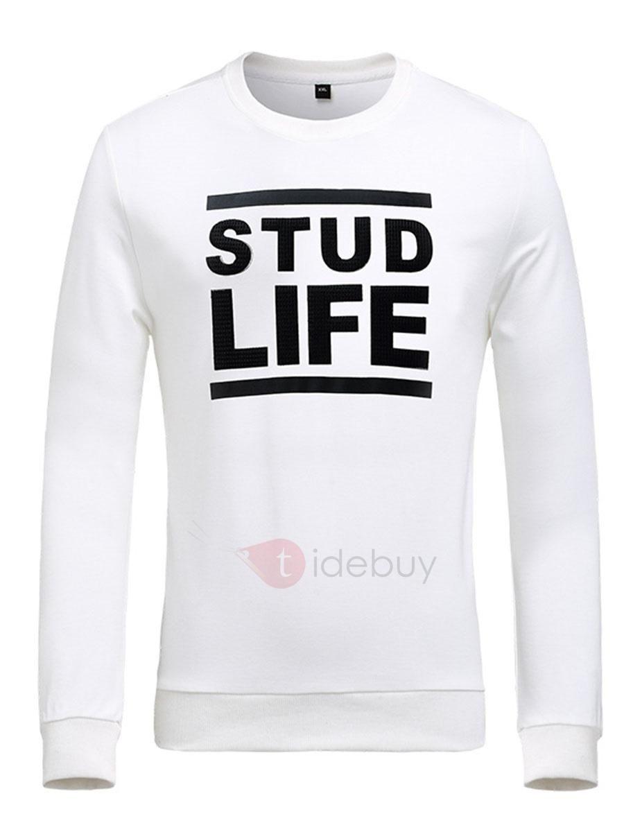 Tidebuy tidebuy casual letter print long sleeve mens tshirt