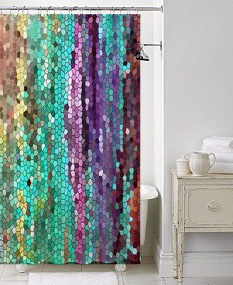 Beautiful Shower Curtain Morning Has Broken Mosaic Unique Fabric Teal Purple Colorful Bathroom Decor Art For The