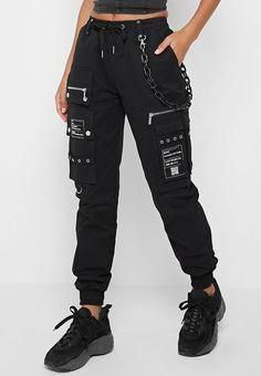 Cargo Pants with Marble Chain - Black