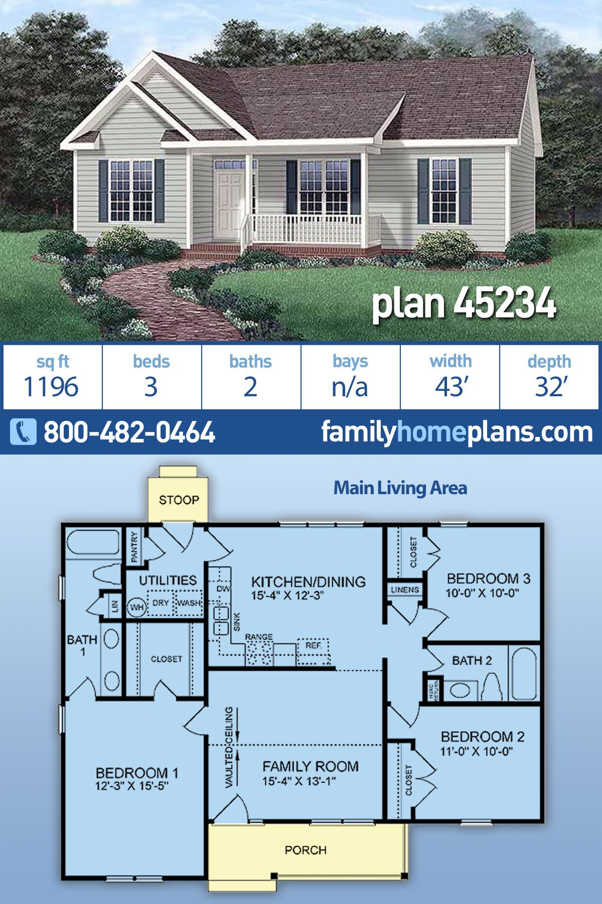 Efficient 3 Bedroom Home Plan 45234 At Family Home Plans Small House Plan Collection Family House Plans Ranch Style House Plans Basement House Plans