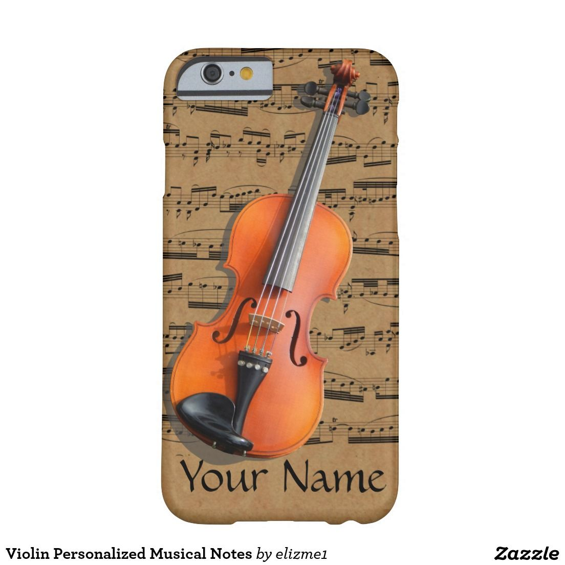 Violin Personalized Musical Notes Barely There iPhone 6 Case A custom phone case ideal for the violinist or the music lover, it presents a beautiful photograph of a violin on a light brown printed background with musical notes that give ir a vintage sheet music look. A template area is included for your personalized name or text.