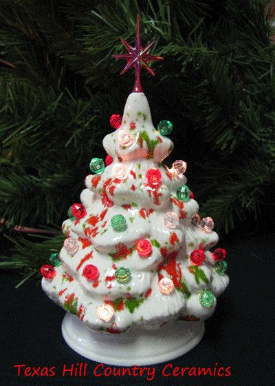 Miniature Ceramic Christmas Tree Peppermint Candy Glaze Little