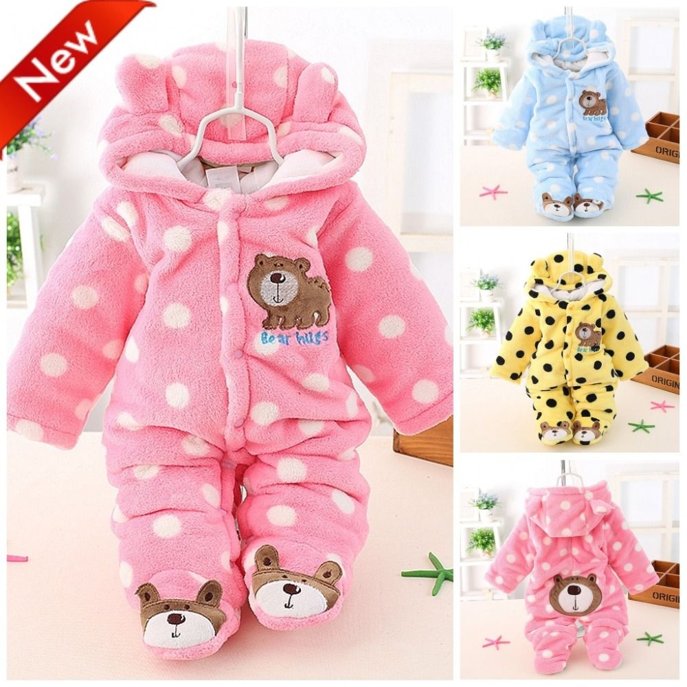 494377c38bf2 Newborn Baby Girls Clothing Coral Fleece Winter Boy Rompers Cartoon Infant  Clothes Meninas Bear Down Snowsuit Babies Jumpsuits