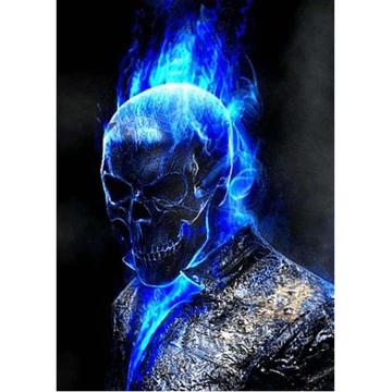 5d Diamond Painting Blue Skull Man Paint With Diamonds Art Crystal Craft Decor Ghost Rider Wallpaper Ghost Rider Marvel Ghost Rider